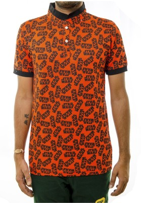 Shootr Printed Men's Fashion Neck Orange T-Shirt