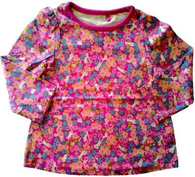 Cool Club Floral Print Baby Girl's Round Neck Pink T-Shirt