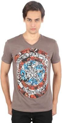 Planet Superheroes Graphic Print Men's V-neck Grey, Red T-Shirt