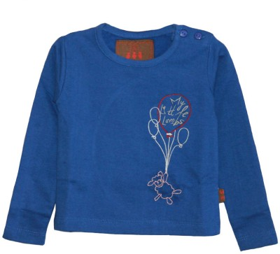 My Little Lambs Solid Baby Girl's Round Neck Dark Blue T-Shirt