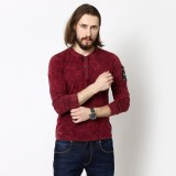 Henry and Smith Solid Men's Henley Red T...