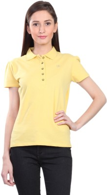 Kidley Solid Women's Polo Neck Yellow T-Shirt