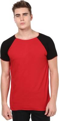 Unisopent Designs Solid Men's Round Neck Red, Black T-Shirt