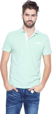 Mufti Solid Men's Polo Neck Green T-Shirt