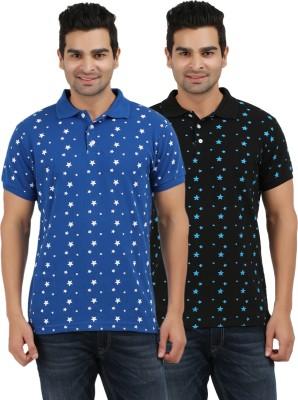 AG Printed Men's Polo Neck Blue, Black T-Shirt