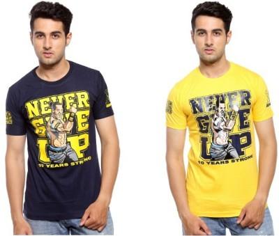 Trendmakerz Graphic Print Men's Round Neck Blue, Yellow T-Shirt