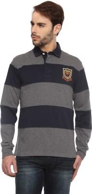 Gant Solid Men's Flap Collar Neck Black, Grey T-Shirt