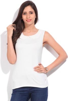 Arrow Solid Women's Round Neck White T-Shirt