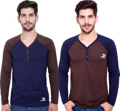Jangoboy Solid Men,s V-neck Blue, Brown T-Shirt