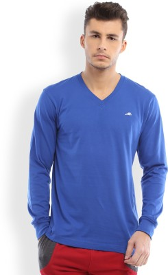 2go Solid Men's V-neck Blue T-Shirt