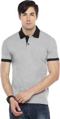 Pepperclub Solid Men's Polo Neck Grey T-Shirt
