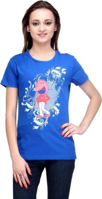 Stilestreet Printed Women's Round Neck Blue T-Shirt