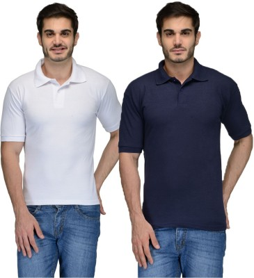 Feed Up Solid Men's Polo Neck Dark Blue, White T-Shirt