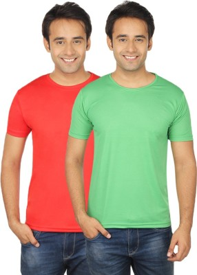 Quetzal Solid Men's Round Neck Red, Green T-Shirt