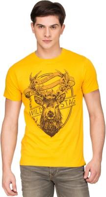 Zovi Graphic Print Men's Round Neck Yellow T-Shirt