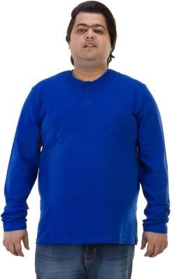 BIGBANANA Solid Men's Henley Dark Blue T-Shirt