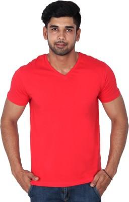 Nod,r Solid Men's V-neck Red T-Shirt