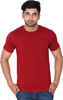 Nod,r Solid Men's Round Neck Maroon T-Shirt