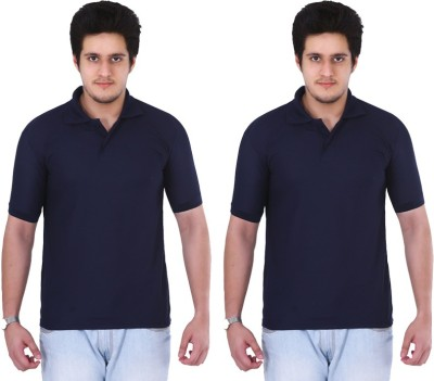 NGT Solid Men's Polo Neck Dark Blue, Dark Blue T-Shirt