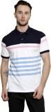 Mudo Striped Men's Polo Neck Pink T-Shir...
