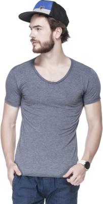 Tinted Solid Men's Round Neck Dark Blue T-Shirt