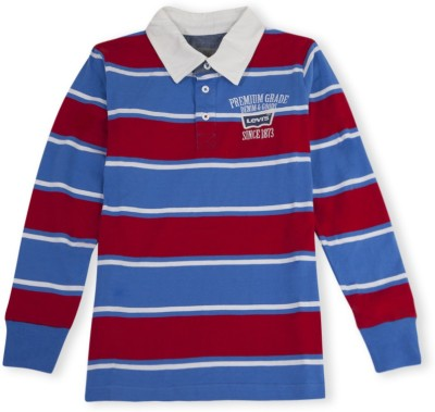 Levis Kids Striped Boy's Polo Neck Red, Blue T-Shirt