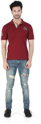 Kkoir Embroidered, Solid Men's Polo Maroon T-Shirt