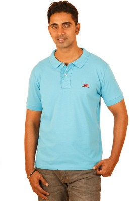 Bleidd Solid Men's Polo Neck Light Blue T-Shirt