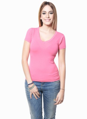 Westhreads Solid Women's V-neck Pink T-Shirt
