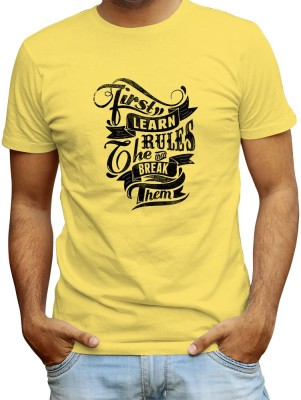 Redfool Fashions Graphic Print, Printed Men's Round Neck Yellow T-Shirt