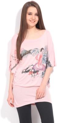 Elle Printed Women's Round Neck Pink T-Shirt