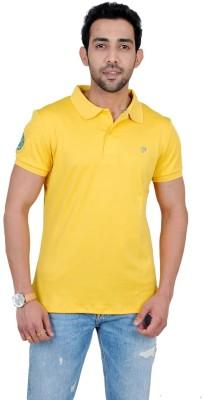 Fabnavitas Embroidered Men's Polo Neck Yellow T-Shirt