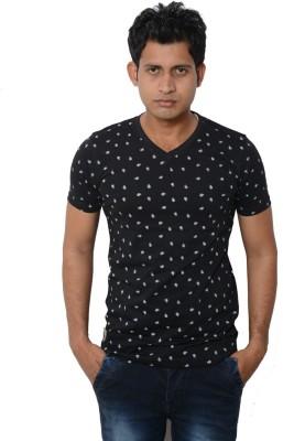 Lampara Polka Print Men's V-neck Black T-Shirt