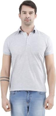 Tej Star Solid Men's Polo Neck Grey T-Shirt