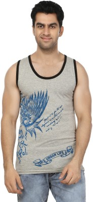 Zacharias Printed Men's Round Neck Grey T-Shirt