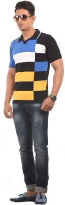AMX Striped Men's Polo Neck Black T-Shirt
