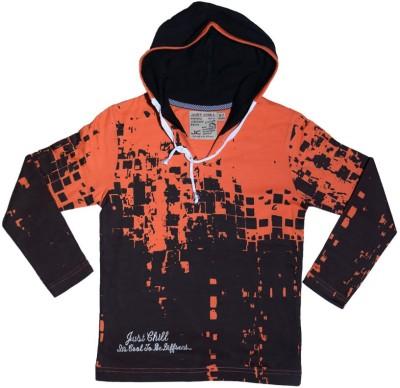 Just Chill Printed Boy's V-neck Orange T-Shirt