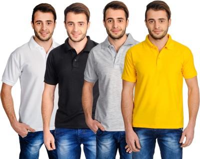 Superjoy Solid Men's Polo Neck Grey, Black, White, Yellow T-Shirt