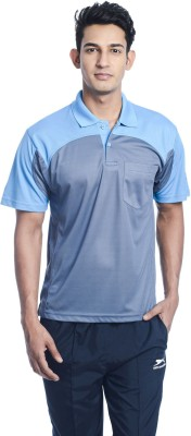 Shiv Naresh Solid Men's Polo Neck Grey, Blue T-Shirt