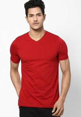 Dizionario Solid Men's V-neck Red T-Shirt