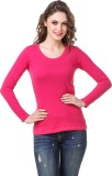 Subu Solid Women's Round Neck Pink T-Shi...