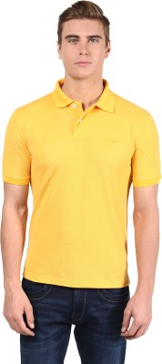 Mine7 Solid Men's Polo Neck Yellow T-Shirt