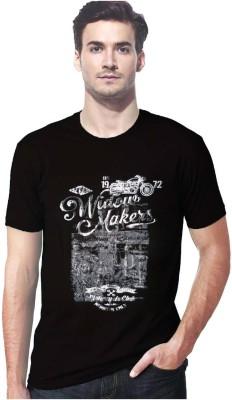 Gallop Printed Men's Round Neck Black T-Shirt