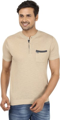 John Players Solid Men's Mandarin Collar Beige T-Shirt