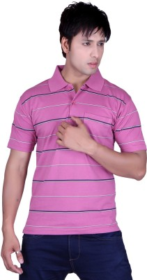 Update Striped Men's Flap Collar Neck Pink T-Shirt
