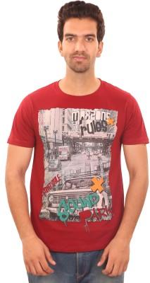 SAVERS CHOICE Graphic Print Men's Round Neck Maroon T-Shirt