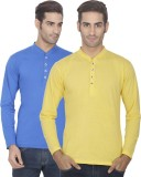 eSOUL Solid Men's Henley Blue, Yellow T-...