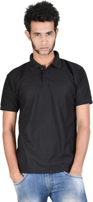 Whistle Solid Men's Polo Neck Black T-Shirt