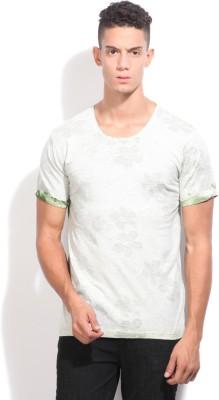 Indicode Printed Men's Round Neck Grey, Green T-Shirt