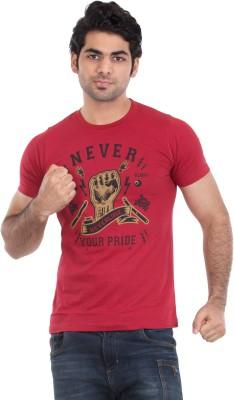 Zulements Printed Men's Round Neck Red T-Shirt